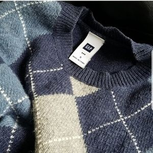 GAP Men's Blue & Gray Argyle Sweater Size Small
